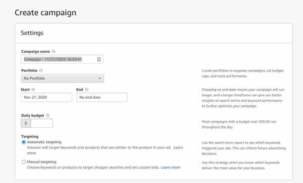 Creating Sponsored Product Automatic Campaign