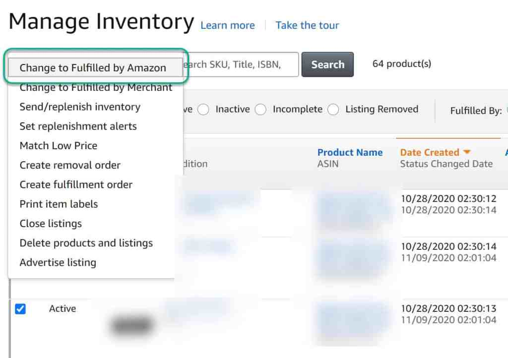 Amazon Inventory Management Changing listing to FBA